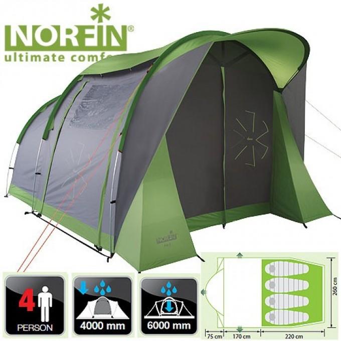 Палатка 4-х местная NORFIN ASP 4 ALU NF NF-10304